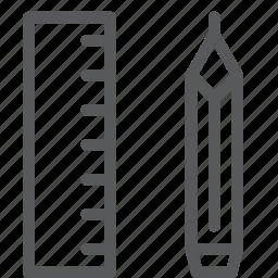 design, draw, geometry, math, measure, pencil, ruler, tool icon