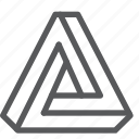 penrose, triangle, illusion, infinite, tool icon