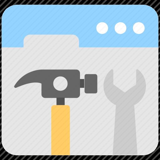 development, hammer, settings, spanner, web icon