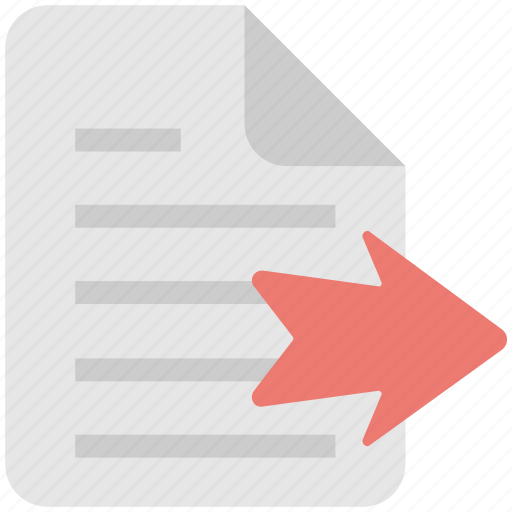 arrow, document, export file, file, move icon