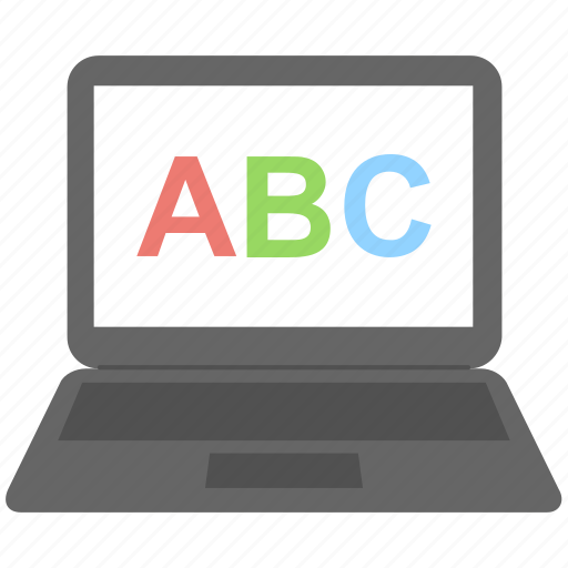 alphabets, e learning, english, fonts, laptop icon