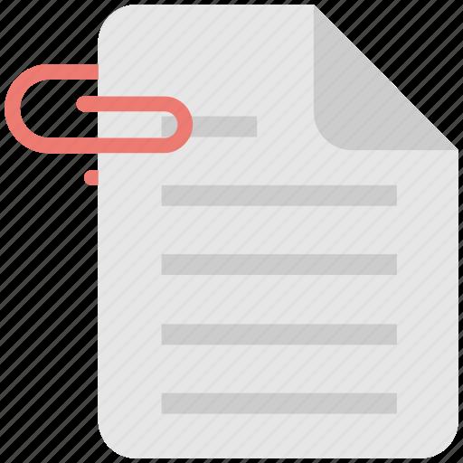 attach, attachment, document, file, paper clip icon