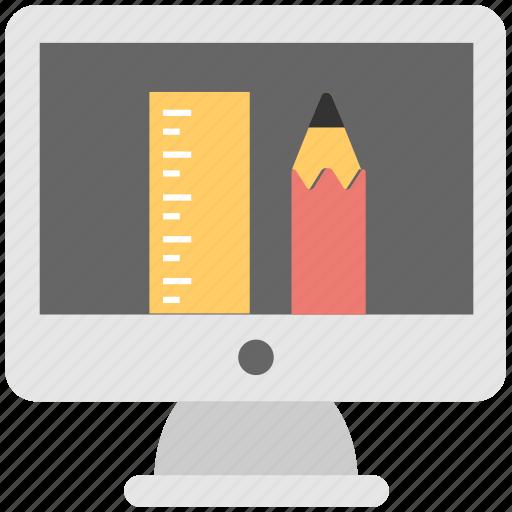 deigning, monitor, pencil, scale, web designing icon