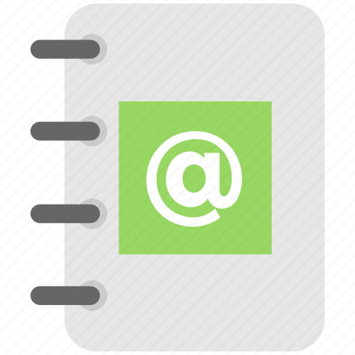 address book, arroba, contacts, diary, phonebook icon