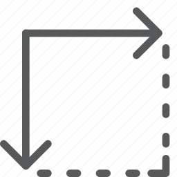 action, arrow, bottom, design, direction, expand, move, right icon