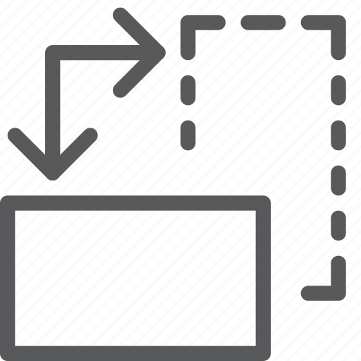 action, design, direction, down, flip, move, rotate icon