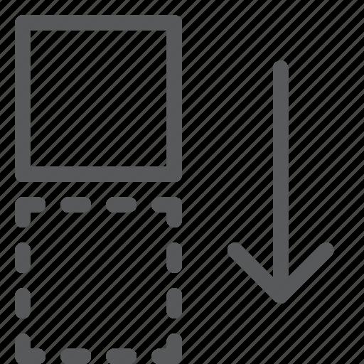 action, arrow, design, direction, down, move icon