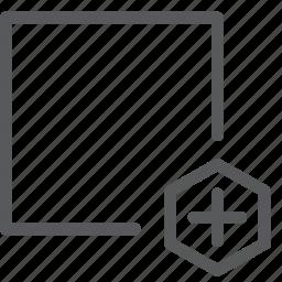 action, add, design, direction, file, move, new, square icon
