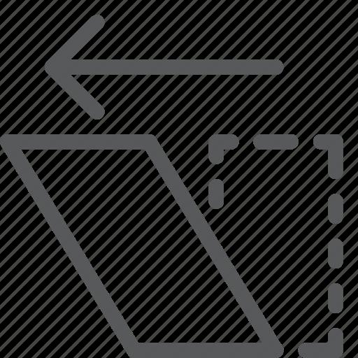 action, arrow, design, direction, left, move, shear icon