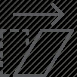 action, arrow, design, direction, move, right, shear icon