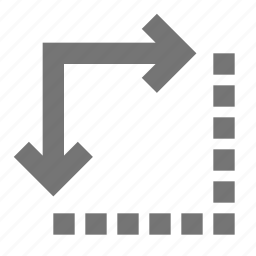 arrows, corner, create, design, down, expand, right, tool icon