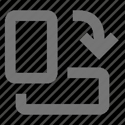 down, flip, rotate right icon