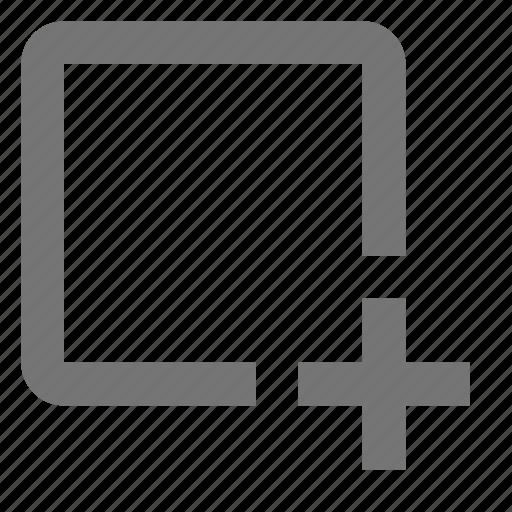 add, create, design, file, new, plus, square, tool icon