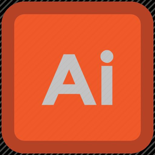 abbreviation, adobe illustrator, ai file, ai square, document, file, file format icon