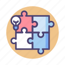 creative, puzzle, solution icon
