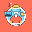 creativity, landscape, media, music, note, smart glasses icon