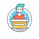conference, lecture, public speaker, seminar, speech icon