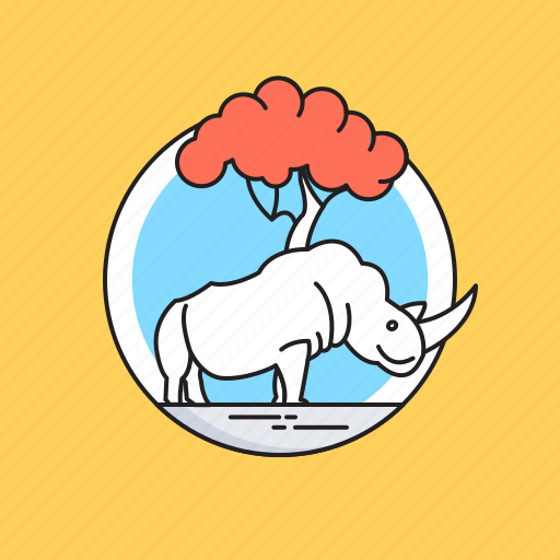 animal, giant animal, rhino, rhinoceros, wild animal icon