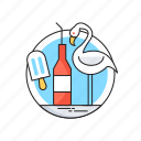 happy summer, ice cream, seagull, summer, wine bottle icon