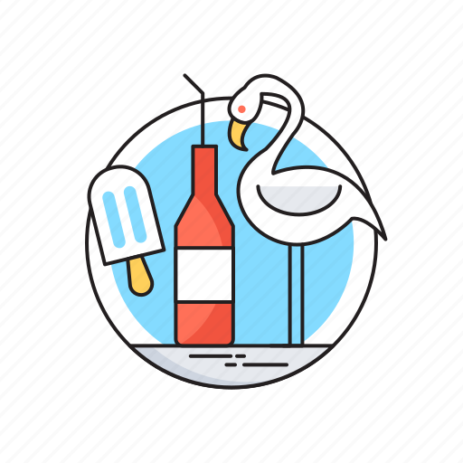 happy summer, ice cream, seagull, summer, wine bottle icon