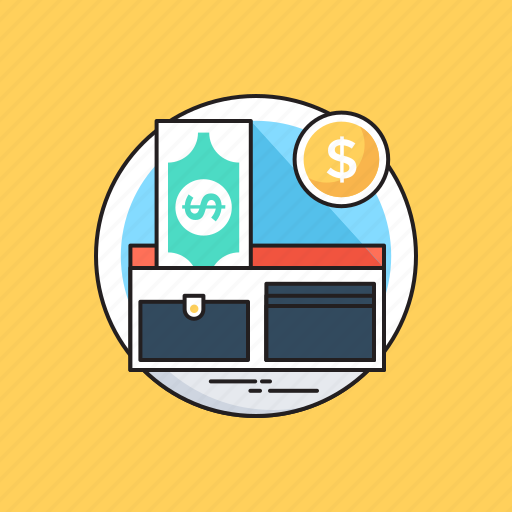 banknotes, dollar, payment methods, purse, wallet icon