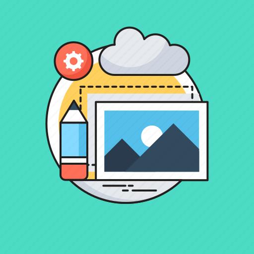 content editor, designing, landscape, photo, seo icon