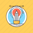 bulb, creativity, design tool, designing, pencil icon