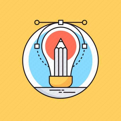 bulb, creativity, design tool, designing, pencil icon