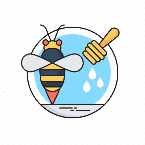 food, honey, honey bee, honey dipper, organic icon