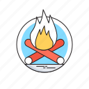 bonfire, campfire, camping, fire, wood icon