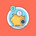 clock, piggy bank, save time, schedule, time is money icon
