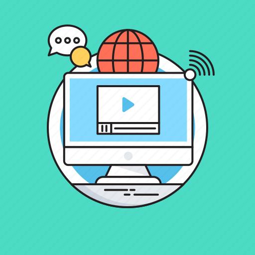 chat bubble, digital marketing, globe, marketing, media icon