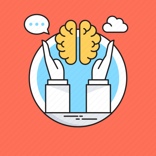 brain, brain exercise, brain training, brainstorming, hands icon