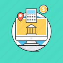 banking, commerce, financial, internet banking, monitor icon