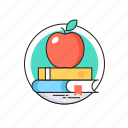 apple, books, education, knowledge, study icon
