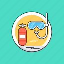 dive mask, diving, scuba tank, snorkel, swimming icon