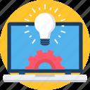 idea, generate, bulb, laptop, light