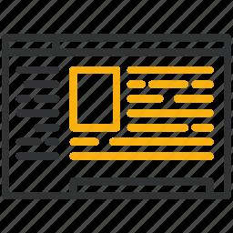 content, design, development, text icon