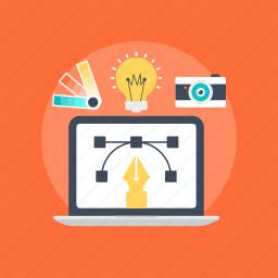 computer graphics, digital graphics, page layout, web designing, web development icon