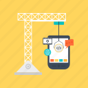 app development, app ui construction, app under construction, digital engineering, under construction app interface icon