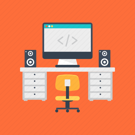 computer engineering, programmer studio, programming, web developer office, web development icon