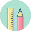 pencil, ruler, stationary icon