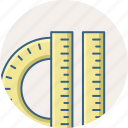 protractor, ruler, tools
