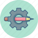 design, pencil, settings icon