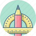 creative, design, designing, graphic, pencil, protractor, shape icon