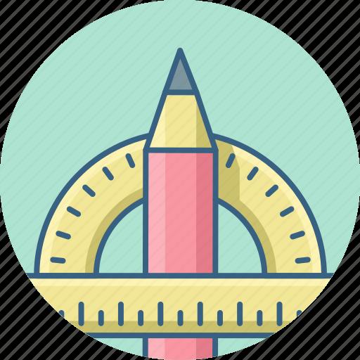 creative, design, designing, graphic, pencil, protractor, shape icon