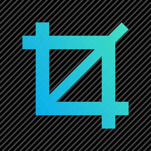 crop, cut, design, edit, gradient, trim icon