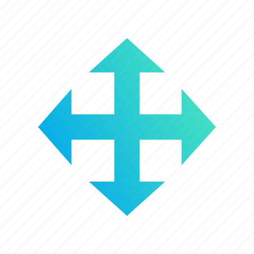 arrows, cross, design, gradient, move, shift icon