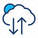 cloud, download, upload, weather icon