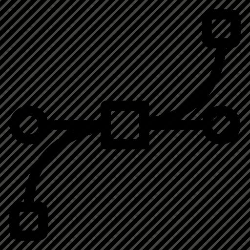 bezier, curve, illustrator, shape icon